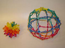 Hoberman Sphere Compacted, Expanded