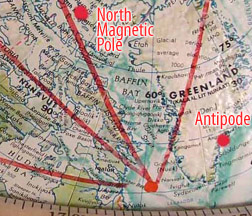 North Magnetic Pole, Greenland Pt. and South Magnetic Pole – ANTIPODE